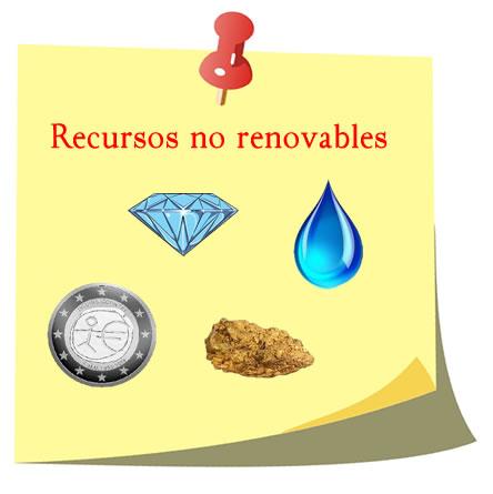 Recursos no renovables, el diamante, la plata y el oro.