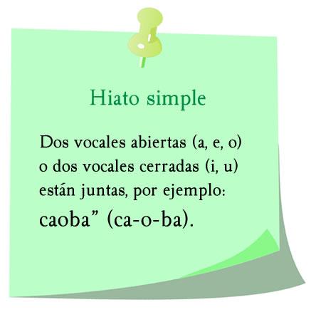 hiato simple, ca-o-ba