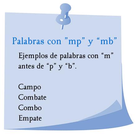 Ejemplos de palabras con mp y mb, campo, combate, combo, empate.