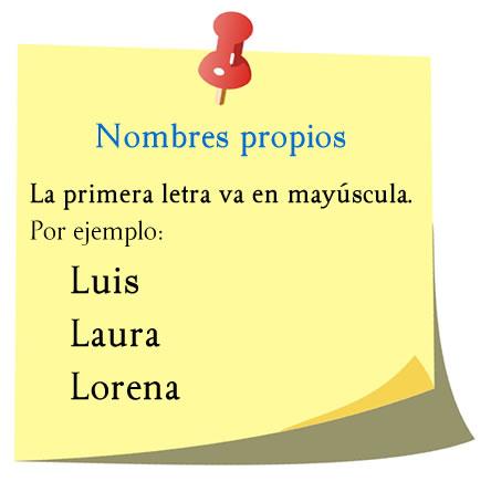 Ejemplos de nombres propios, Lorena, Laura, Luis.