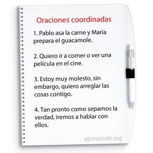Ejemplos de oraciones coordinadas