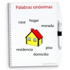 Palabras sinónimas, formas de referirse a una misma cosa: casa, hogar, vivienda, piso, domicilio.