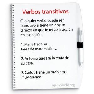 Los verbos transitivos en la oración.