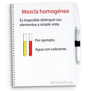 Ejemplo de mezcla homogénea, agua con colorante.
