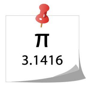 Ejemplo de números irracionales, Pi, 3.1416